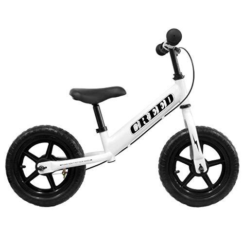WEIMALL キッズバイク キックバイク 2歳〜 子供用自転車 バランスバイク ブレーキ付 ペダル無し 幼児 おもちゃ ホワイト×ブラック