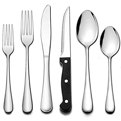 Wildone 24-Piece Flatware Set with Steak Knives, Stainless Steel Flatware Cutlery Set Service for 4, Tableware Eating Utensils Include Knives/Forks/Spoons, Mirror Polished, Dishwasher Safe