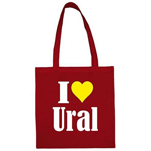 Tasche I Love Ural Größe 38x42 Farbe Rot Druck Weiss