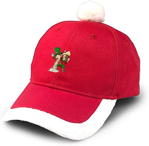 pequeño y compacto GGdjst Santa Hat, Día de San Patricio Leprechaun Drunk Rainbow Tracker Santa Hat Red Christmas…