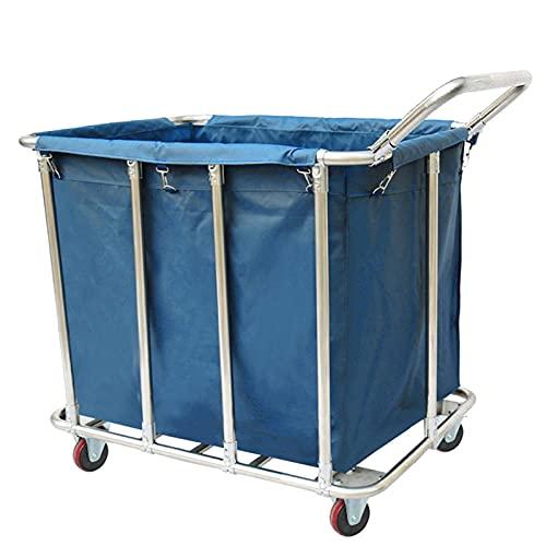 FACAZ Contenedor de Ropa Azul/marrón con Ruedas para Hotel y Hospital, Carrito de Tela con Canasta de lavandería Grande con Marco de Metal y Bolsa extraíble, Carga 200 kg (Color: Azul)