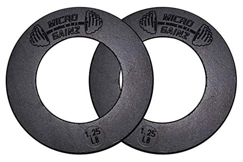 Micro Gainz Olympic Fractional Weight Plate Sets of 2 Plates .25LB-1.25LB (Choose Set)-Designed for Olympic Barbells, Used for Strength Training and Micro Loading, Made in USA (1.25)