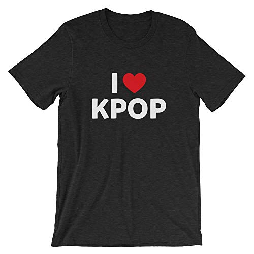 I Love Kpop Shirt, Funny, K-Pop, Korean, Pop, Music, Ulzzang, Gift, Tee, Short-Sleeve Unisex T-Shirt Black Heather