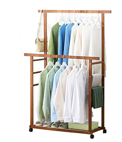 Clothes Rail Shelf With Double Rail 3 In 1 Bamboo Coat Stand Hanging Clothes Rail Shoe Storage Shelves Garment Rack For Home Office Bedroom Hallway