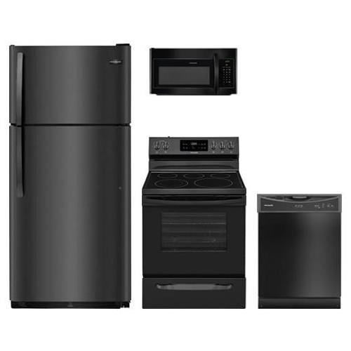 "Frigidaire 4-Piece Kitchen Appliance Package FFTR1821TB 30"" Top Freezer Refrigerator FFEF3054TB 30"" Electric Freestanding Range FFMV1645TB 30"" Over The Range Microwave and FFCD2413UB 24"" Full Console Dishwasher in Black"