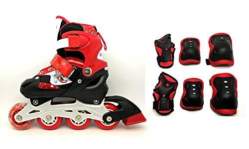 Tante Tina Kinderinliner größenverstellbar mit Schutzset - Inlineskates für Kinder verstellbar in 4 Größen - Rot - Größe L (39-42)