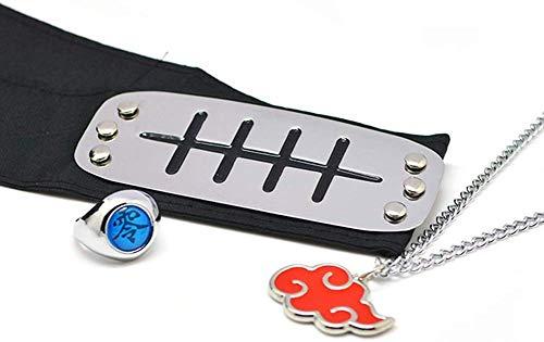 GOTH Perhk 3pcs Anime Naruto Shippuden Verstellbar Metall Blatt Village Stirnband Ninja Uchiha Sasuke Kakashi Cosplay Set Ring Halskette - Schmerzen, Anti-amegakure, Normal