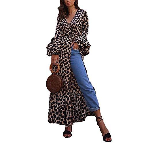 Vestido de Mujer Summer Fashion Sexy Leopard Print Cuello en V Manga Larga Slim Plus Size DressX-Large