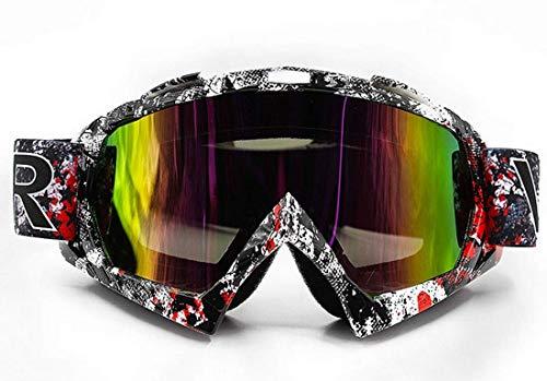 Motorradbrillen Motocross Brille Maske Enduro UV-Schutz, Skibrille Snowboard Brille Anti-Kratz Winddicht - Farbige Linsen