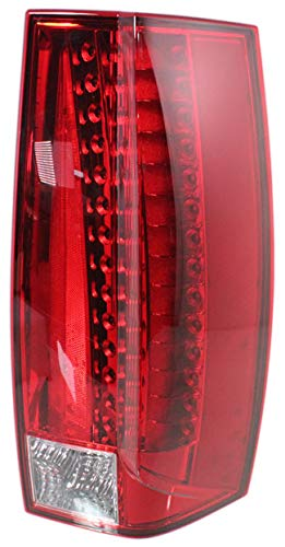 Tail Light Assembly Compatible with 2007-2014 Cadillac Escalade/Escalade ESV LED Red and Clear Lens Passenger Side