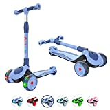 Allek F01 Folding Kick Scooter for Kids, 3-Wheel LED Flashing Glider Push Scooter with Height Adjustable and Foldable Handlebar, Dual Color Anti-Slip Wide Deck for Boys Girls 3-12 (Blue)