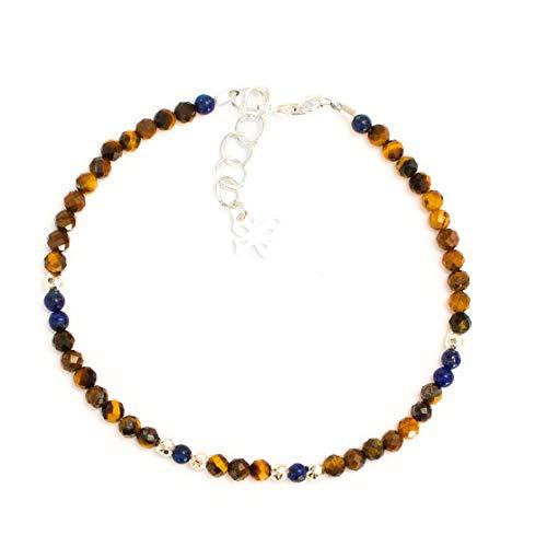 Kimaya Bijoux - Pulsera para mujer artesanal muy fina de piedra natural, ojo de tigre, lapislázuli y plata 925