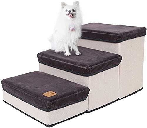 NATUREACT Escalier pour chien 3 niveaux - Portable - Pour animaux de compagnie - Pour chiens et chats âgés - Gris