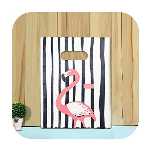 Bolsa embalaje, regalo con asa, bolsa de plástico, embalaje para Shopping, 100 unidades de Flamingo-20x30 cm – 100 unidades