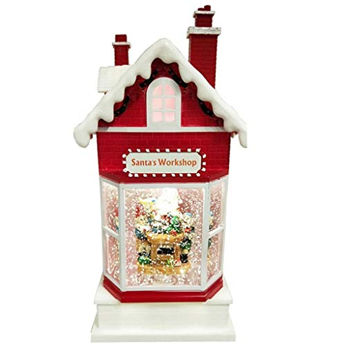Lightahead Santa's Workshop Musical Lighted Toy House,10 Inch Christmas Santa House with Swirling Glitter and 8 Melody's Playing A