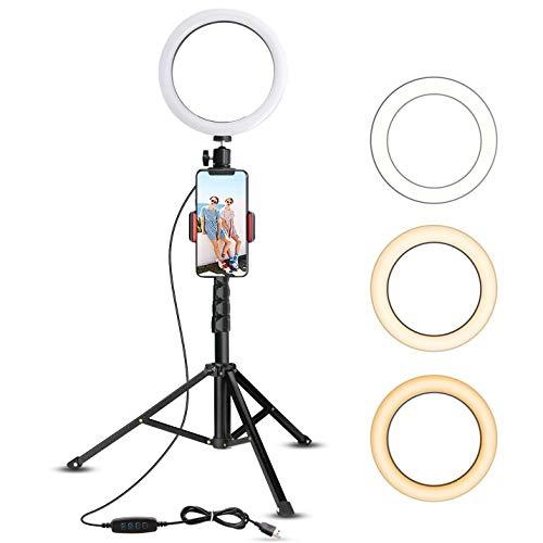 XDDXIAO Selfie Ringlicht, mit Stativ und HandyHalter Farbe DREI dimmbare Schreibtisch Make-up Ringleuchte Set, für Smartphone YouTube Video Shooting,10.2 in