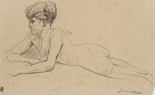 H. W. Fichter Kunsthandel: J.REEKUM (*1877), Liegender weiblicher Akt, Modellzeichnung, Bleistiftzeichnung