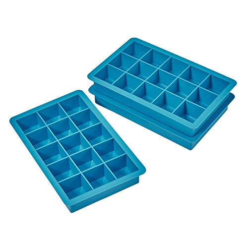 Jet Lag Ice Cube Trays, 15 Cube Easy Release Silicone Ice Tray, Non-smell, BPA Free and Dishwasher Safe (3-Pack) (blue)
