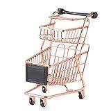 Cabilock Mini carrito de compras de 2 niveles simulador carrito de supermercado carrito de almacenamiento organizador de cesta para joyería cosmética (oro rosa)