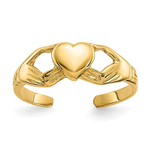 14k Yellow Gold Irish Claddagh Celtic Knot Adjustable Cute Toe Ring Set Fine Jewelry For Women Gifts For Her
