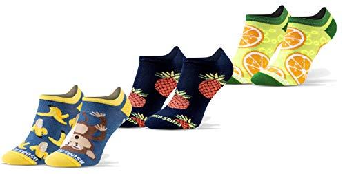 Sesto Senso Lustige Sneaker Socken Baumwolle Bunte Füßlinge Damen Herren 1-3 Paar Funny Socks Banane Ananas Zitrone orange obst 35-38 3 Früchte