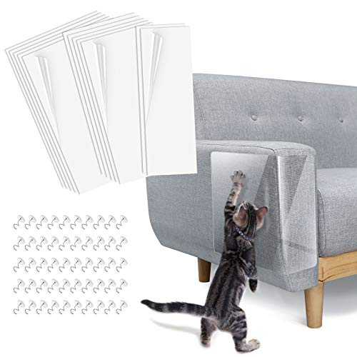 Lewondr Couch Furniture Protector 12 Packs, Cat Scratch Pads, Clear Anti-Scratch Self-Adhesive Pads with 50 Pins, Cat Scratching Deterrent Sheet Tape, 2Pack(S)18'x6'+ 5Pack(M)18'x9'+ 5Pack(L)18'x12'