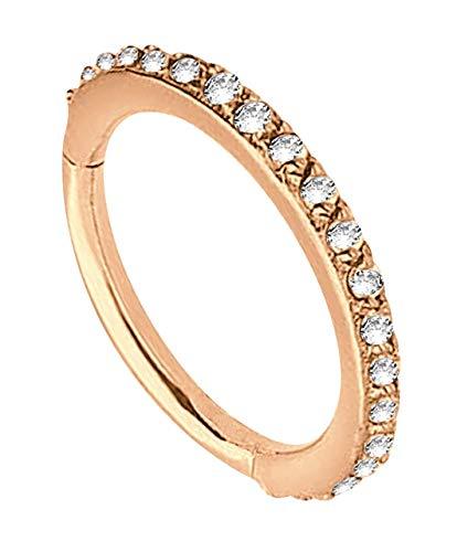 Piercing Smooth Segment Ring Clicker Stahl Rosegold in 1,2 x 6 mm mit klaren Steinen vertikal