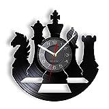 Juego de Mesa de ajedrez Disco de Vinilo fonógrafo Reloj de Pared Set decoración de la Sala de Juegos Knight King Queen Disco de Vinilo Reloj Artesanal Sin LED