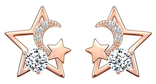 MicVivien Pendientes para mujer de plata 925 con circonitas blancas, estrellas y luna, pendientes para mujer y niña, oro rosa