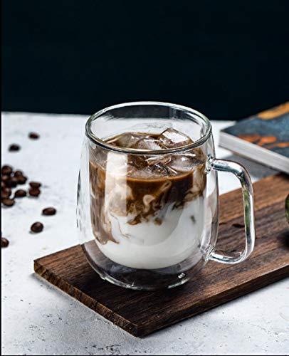 Zweischichtiger Becher mit großem Fassungsvermögen aus Glas und Frühstücksmilch, Haferflockenbecher, Kaffeetasse, Office Home, 350 ml