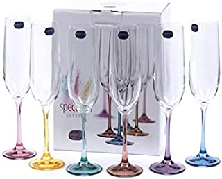 Bohemia Crystal, Spectrum Rainbow, Colored Crystal Champagne Flutes, Set of 6, 6.4 oz, Each Base a Different Color, Lead Free