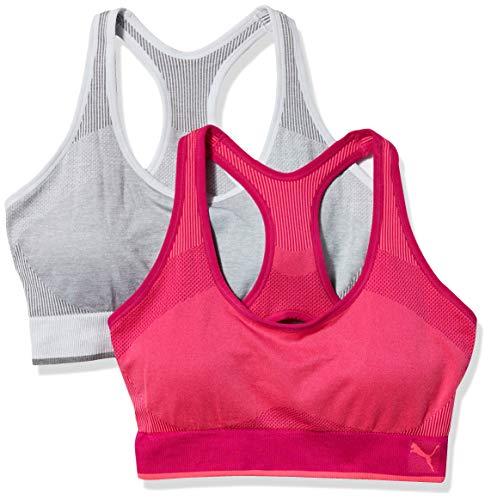 PUMA Women's Seamless Bra, Pink/White, Small