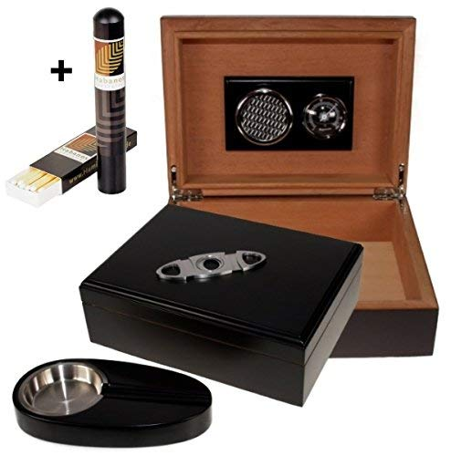 Lifestyle-Ambiente Black Finish Humidor-Set V- 200 + Habanos Specialist Set