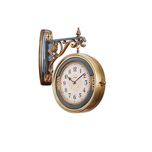 Reloj de pared de puerta Sala de doble cara de lujo creativo del reloj luminoso de silencio Reloj retro de doble cara reloj de pared / al aire libre de doble cara reloj de pared / Galería decorativo r