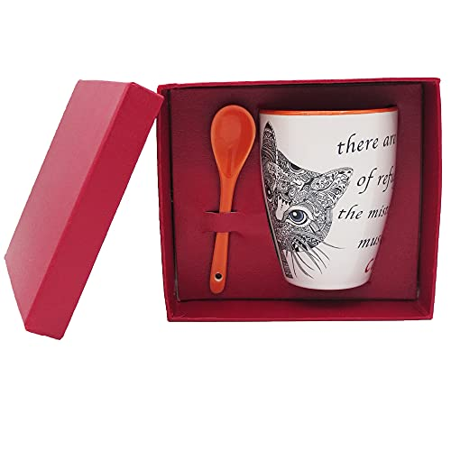 NAREG - Taza de cerámica con cuchara en caja de regalo para gato, taza con gato, idea regalo, ideal para desayuno, té, café, apta para microondas y lavavajillas, taza de café Cat. (naranja)