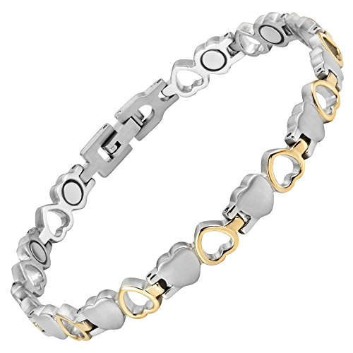 Willis Judd Womens Love Heart Magnetic Therapy Ankle Bracelet for Arthritis Pain Relief Size Adjusting Tool and Gift Box Included