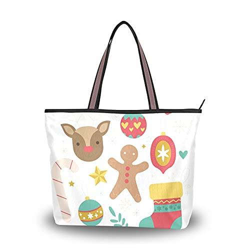 NaiiaN Frohe Weihnachten Rentier Puppe Ball Socke Geldbörse Einkaufen für Mutter Frauen Mädchen Damen Student Einkaufstasche Leichter Gurt Umhängetaschen Handtaschen