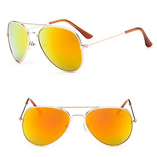 YiXing Gafas de sol clásicas para niñas, espejo colorido para niños, marco de metal, lentes de compras, color dorado y rojo