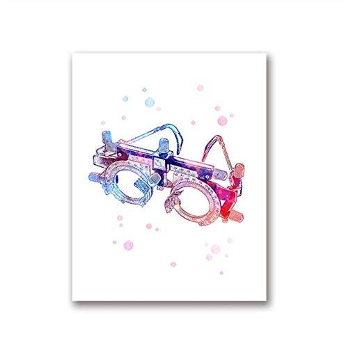 XIANGPEIFBH Druck auf Leinwand Malwerkzeuge Kunst Optische Poster Optometrie Instrument Augenklinik Optiker Arzt Büro Rahmen Dekoration 40x50 cm (15,7