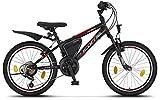 Licorne - Mountain bike per bambini, uomini e donne, con cambio Shimano a 21 marce, Bambini, nero/rosso/grigio., 20