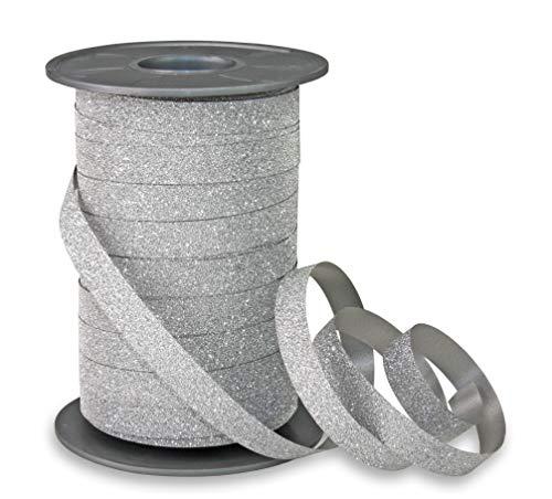 Präsent, Nastro Glitter da 10 mm per 100 m in Polipropilene, Color Argento
