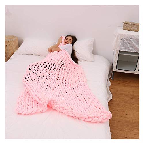 Jlxl Manta De Chenille De Punto, Suave for Tejer Cama Voluminosa Sofá O Mascota Decoración De Dormitorio Regalo (Color : Pink, Size : 60x80cm/24x31in)