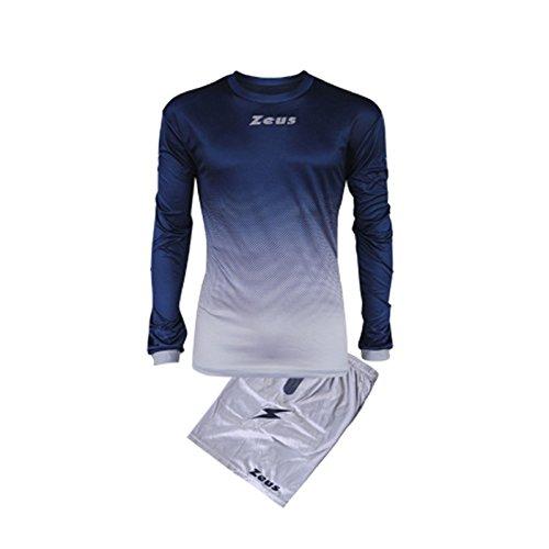 Kit Zeus Eros Blu-Silver Completino Completo Calcio Uomo Donna Calcetto Muta Torneo Scuola Sport (S)