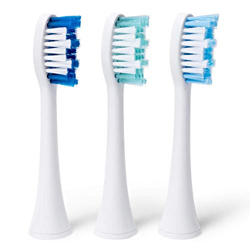Dazzlepro Elements Toothbrush Heads (3Piece)- Compatible With Elements Sonic Toothbrush, Large, Soft Bristles, Large- Replacement Brush Heads