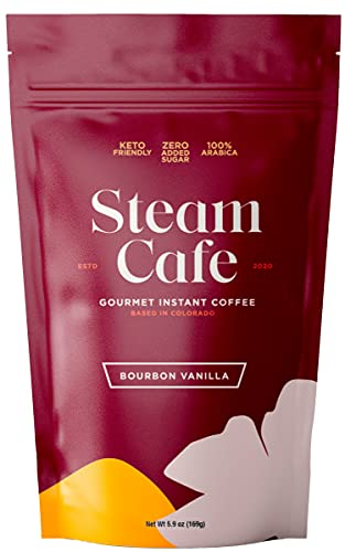 SteamCafe Gourmet Flavored Instant Coffee   Bourbon Vanilla 1 Pack   Keto and Paleo Friendly, Gluten-Free   No Sugar Added   15 Servings