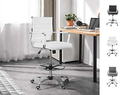 Drafting Chair Stool Office Ergonomic Footrest Leather – Tall Arms Footrest Height Adjustable Ribbed Mid-Back Tilt-Tension Control Rocker Lumbar Support Swivel Rolling Cushioned 400lb BIFMA (White)