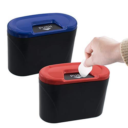 Cubo de basura portátil para colgar con tapa de plástico reutilizable para escritorio, papelera, contenedor portátil para coche, hogar, oficina