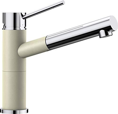 BLANCO Alta-S Compact Küchenarmatur / Kompakter Einhebelmischer Silgranit-Look in Jasmin-Chrom mit ausziehbarer Schlauchbrause / Hochdruck