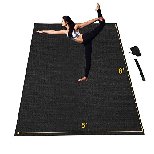 Wesfital Extra Large Yoga Mat Exercise Mat 8'x5'(96'x 60') x7mm Workout Mats Anti-Tear High Density Non-Slip Exercise Yoga Mat with Carrying Bag & Straps