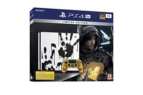 Sony PlayStation 4 Pro 1 To Édition Spéciale Death Stranding Limitée, Avec le jeu inclus + 1 manette sans fil DUALSHOCK 4 V2 personnalisée, Châssis G, Blanc/Motifs mains noires
